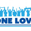 One love with cheering crowd — Stock Vector #70583125