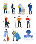 Nine professions silhouettes — Stock Vector