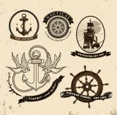 Vintage style nautical theme — Stock Vector