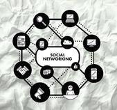 Koncepcja sieci społecznej — Wektor stockowy