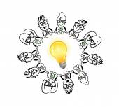 Empresários de bonito dos desenhos animados, conectando-se ao redor de uma lâmpada — Vetor de Stock