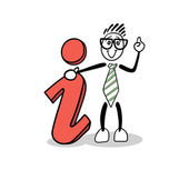 Cute cartoon businessman showing info sign — Stock Vector