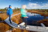 People walking on trail in swamp, beautiful day outdoors — Stock Photo