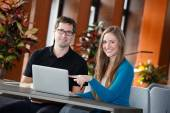 Businesspeople having break in lobby room of conference centre — Stock Photo