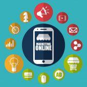 Marketing online  — Vector de stock