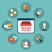 Online Pazarlama — Stok Vektör