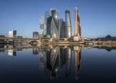 Business Center Moscow City at sunrise. — Stock Photo