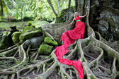 Girl in long red dress lying on the huge roots of a tropical tree — Stock Photo