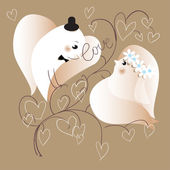 Two lovers doves. Retro styled illustration, vector, EPS10 — Stock Vector