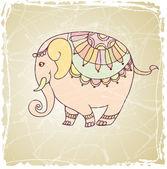 Decorative vintage  elephant — Stockvector