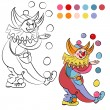 Coloring book with cheerful clown - vector illustration. — Stock Vector #69822663