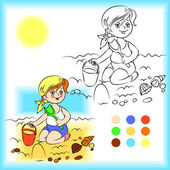 Baby on the sand coloring book — Stock Vector