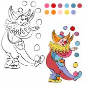 Coloring book with cheerful clown - vector illustration. — Stock Vector