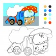 Coloring book. Cartoon funny car truck. — Stock Vector #69841141