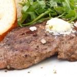 Постер, плакат: Perfect roast pork rib eye steak with baguette