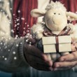 Lamb toy and christmas gift — Stock Photo #56492227
