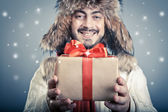 Positive male with magical giftbox — Photo