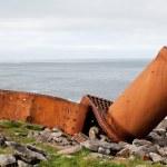 Part of rusty ship on the coast — Stock Photo #60055887