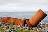 Part of rusty ship on the coast — Stock Photo