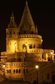 Detail of Fisherman's Bastion in Budapest ta night — Stock Photo