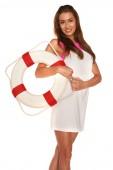 Mädchen mit rettungsring — Stockfoto