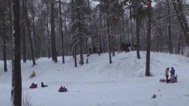Rodzin z dziećmi, sankach w dół śnieżny wzgórza w parku — Wideo stockowe