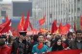 Procession of communists in Moscow — Stock Photo