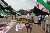 Protest the Syrian Diaspora against Russia's support of Assad's regime — Zdjęcie stockowe