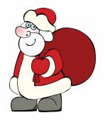 Santa Claus with a big sack of Christmas gifts — Stock Vector