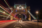 On the Tower Bridge in London at night — Stock Photo