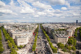 Aerial view of the Champs-Elysees in Paris — Stock Photo