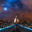Millennium Bridge and St Pauls Cathedral in London at night — Stock Photo #52111375