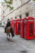 Red phone boxés and a mounted police officer in London — Stock Photo