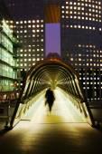 Modern footbridge at night — Stock Photo