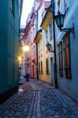 Picturesque alley in Riga, Latvia, at dawn — Stock Photo