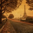 Vintage style picture of a street view in Paris — Stock Photo #52356845
