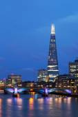 Skyscraper The Shard in London, UK, at night — Stock Photo