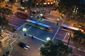 Aerial view of an avenue in Barcelona, Spain, at night — Stock Photo