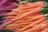 Pile of carrots at a vegetables market — Fotografia Stock