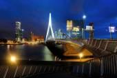 Rotterdam with the Erasmus Bridge at night in Rotterdam, Netherland — Stock Photo