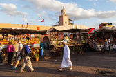 On the famous market square Djema el Fnaa in Marrakech, Morocco — Stock Photo