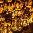 Rows of arabic lanterns with burning candles — Stock Photo #54594477