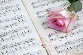 Picture of pink rose on old sheets of music — Stock Photo