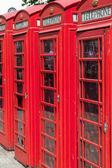 Traditional red phone boxes in London, UK — Стоковое фото