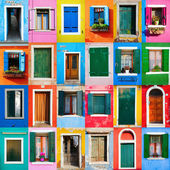 Collage of colorful windows and doors in Burano — Foto de Stock