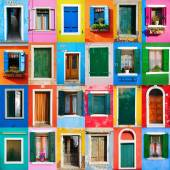 Collage of colorful windows and doors in Burano — Stock Photo
