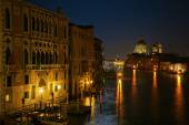 Grand Canal in Venice, Italy, at night — Stock Photo