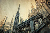 Vintage style picture of a detail of the top of the Milan Cathedral in Milan, Italy — Stock Photo