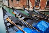 Gondolas on a canal in Venice, Italy — Stock Photo