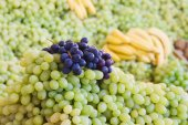 Heap of white and blue grapes at a market stall — Foto Stock